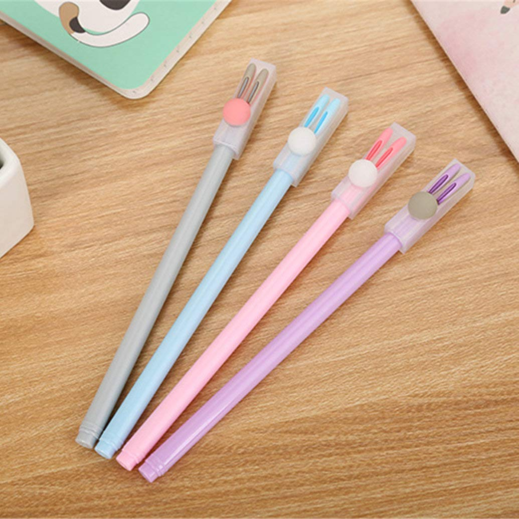 WIN-MARKET Animal Colorful Rabbits Gel Ink Pen Cute Kawaii Black Writing Pens Ballpoint Black Ink Gel Pen Party Gift Gel Ink Pens Funny School Stationery Office Supplies(6PCS)
