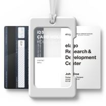 elago ID3 ID Card Holder [Body-White/Strap-Transparency] - [Two Card Storage][Lighter Silicone Strap][Light Weight] – for ID Cards & Credit Cards