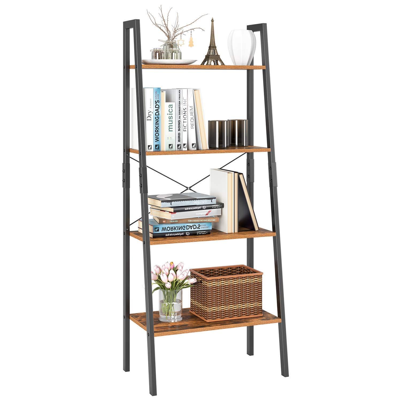 Homfa Ladder Shelf, 4 Tier Vintage Bookcase, Multipurpose Plant Flower Stand Bookshelf Storage Rack Shelves, Wood Look Accent Metal Frame Modern Furniture Home Office