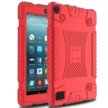 Venoro Case for All-New Amazon Fire 7 Tablet, Light Weight Shockproof Soft Defender Protective Case Cover for Amazon Kindle Fire 7 2017 (Red)