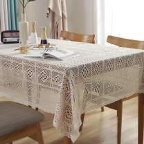 Bringsine Vintage Handmade Crochet Diamond Tablecloth Decorative Macrame Lace Table Cloth Cover Layer for Kitchen Dinning Pub Bedside Tabletop Sheet Decoration(Beige, Rectangle/Oblong, 55 x 87 Inch)