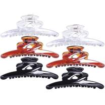 RC ROCHE ORNAMENT 6 Pcs Womens Thin Long No Slip Strong Grips Sectioning Styling Salon Premium Butterfly Jaw Claw Clamp Professional Salon Hair Accessory Clips, Large Clear Brown and Black