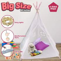 Teepee Tent for Kids - Sturdy 5 Poles Kids Teepee Sewed Floor Mat, Tipi Lights, Carry Bag Baby Tent - 5 Ft White Cotton Canvas Kids Tent for Boys&Girls - Foldable Indoor/Outdoor Play House Kid Tent