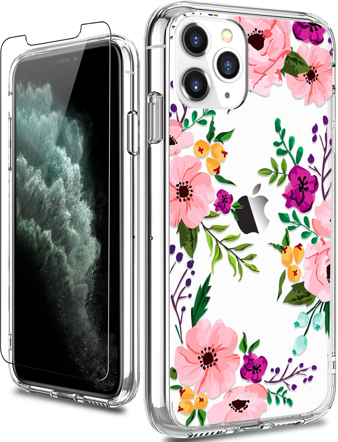LUHOURI iPhone 11 Pro Case with Screen Protector,Cute Floral Designs on Clear Cover for Girls Women,Shockproof Scratch Resistant Slim Fit Protective Phone Case for iPhone 11 Pro 5.8 inch 2019 Pink