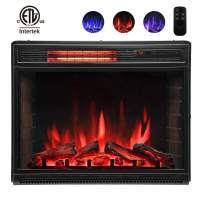 Lauraland 28 Inch Electric Fireplace Heater, Recessed or Floor Mount, Colorful Flame Option, Remote Control, ETL Safety Certificate, 750W-1500W, Black
