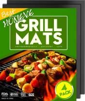 "Homeve BBQ Grill Mat - Non-Stick BBQ Mats (Set of 4), FDA-Approved, PFOA Free, Size 13"" x 16"""