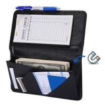 Mymazn 5 X 9 Mermaid Server Book for Waitress with Magnetic Closure, Zipper Pocket and Pen Holder (Black)