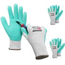 HAUSHOF 3 Pairs Latex Coated Working Gloves, Level 5 Cut Resistant Garden Gloves for Gardening, Restoration Work, Large