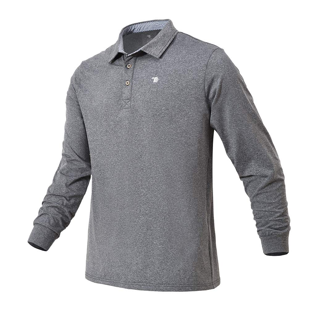 YSENTO Men's Golf Shirts Long Sleeve Casual Quick Dry Athletic Polo T-Shirts Tops