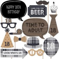 18th Milestone Birthday - Dashingly Aged to Perfection - Birthday Party Photo Booth Props Kit - 20 Count