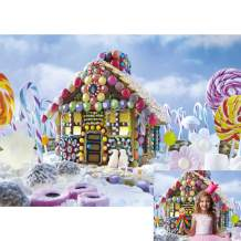 Allenjoy 7x5ft Christmas Gingerbread House Backdrop Sweet Lollipop Marshmallows Candyland Photography Background for Kids Children Baby Shower 1st Birthday Party Decor Banner Portrait Photo Booth Prop