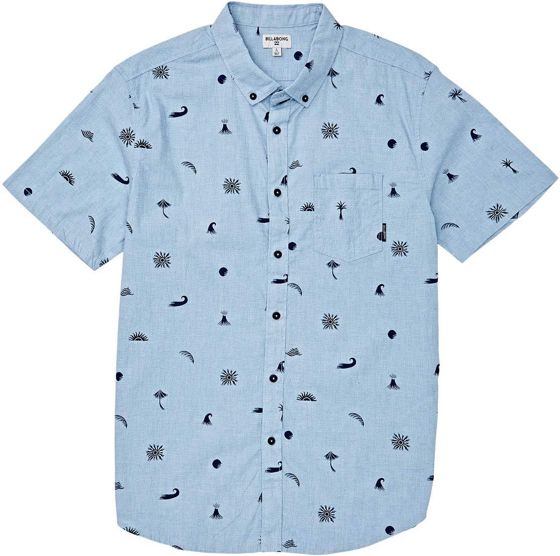 Billabong Men's Sundays Mini Short Sleeve Shirt Blue Large
