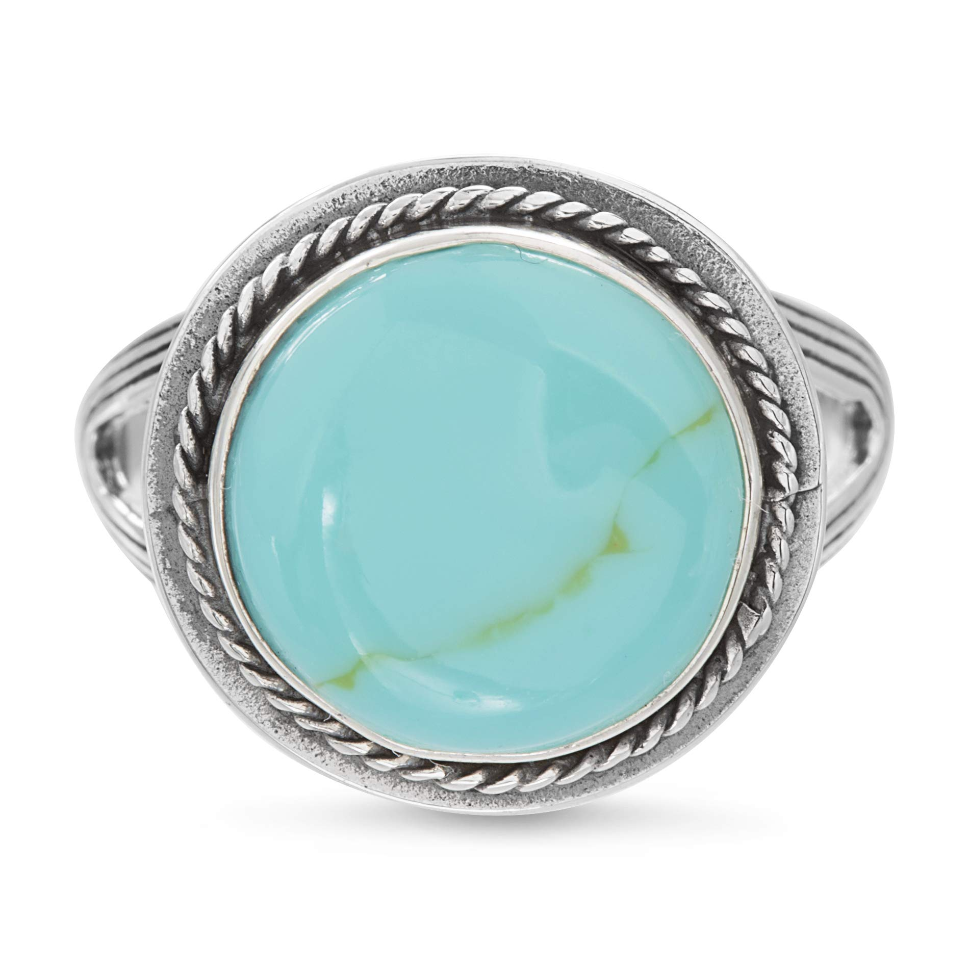 WILLOWBIRD Rhodium Plated Sterling Silver Simulated Turquoise Rope Edged Ring for Women (Various Sizes)