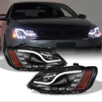 Fits 2011-2014 Volkswagen VW Jetta Premium LED Light Strip DRL & Projector Headlights Lamps -Black Housing