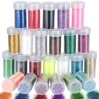 24 Jar Fine Glitter for Slime, LEOBRO Multipurpose 0.3 mm Craft Glitter in Shaker Jars, Extra Fine Glitter for Art Crafts, Eye Shadow, Nail, Epoxy Tumbler, in 24 Assorted Colors