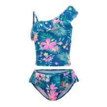 Girls Two Piece Tankini Swimsuit Hawaiian Ruffle Swimwear Bathing Suit Set
