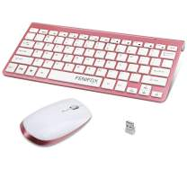 Wireless Keyboard and Mouse,FENIFOX USB Mini Small Thin Quiet,Compatible with PC Laptop Computer Tablet (Silver and White) (Small Keyboard,Pink)