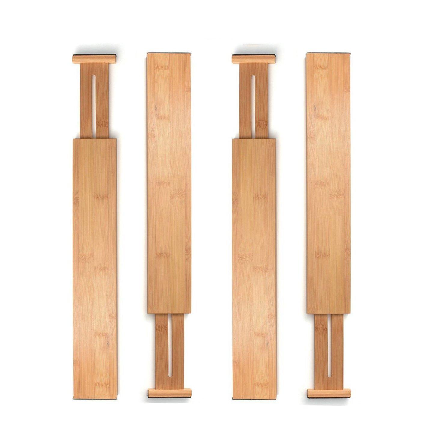 Bambusi Bamboo Drawer Dividers Kitchen Organizer - Spring Adjustable & Expandable - Best for Kitchen, Dresser, Bedroom, Baby Drawer, Bathroom, and Desk. (Set of 4)