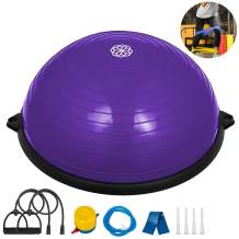 Happybuy 23 inches Yoga Half Ball Dome Balance Trainer Fitness Strength Exercise Workout with Pump and Resistance Band
