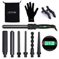 PARWIN BEAUTY Curling Iron Set 7 in 1 Interchangeable Barrels Dual Voltage Hair Curler LCD Display Tourmaline Ceramic Curling Iron with Heat Resistant Glove, Black