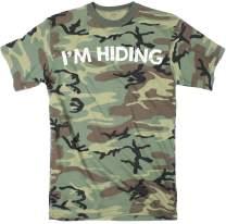 Mens Im Hiding Camo T Shirt Funny Sarcastic Military Hunting Novelty Dad Joke