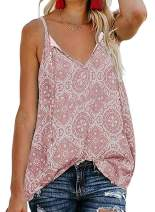 Chase Secret Women's V Neck Cami Tank Floral Print Tops Sleeveless Blouse Shirts