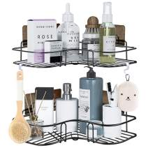 2-Pack Corner Shower Caddy, Bathroom Shelf with 8 Pack Powerful Adhesive Hooks, 2-in-1 Organizer Storage for Toilet, Kitchen, and Dorm. (black01)