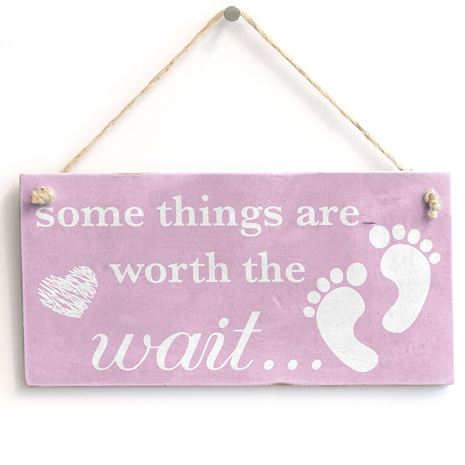 Meijiafei Some Things are Worth The Wait. Baby Girl - Vintage Sign/Plaque
