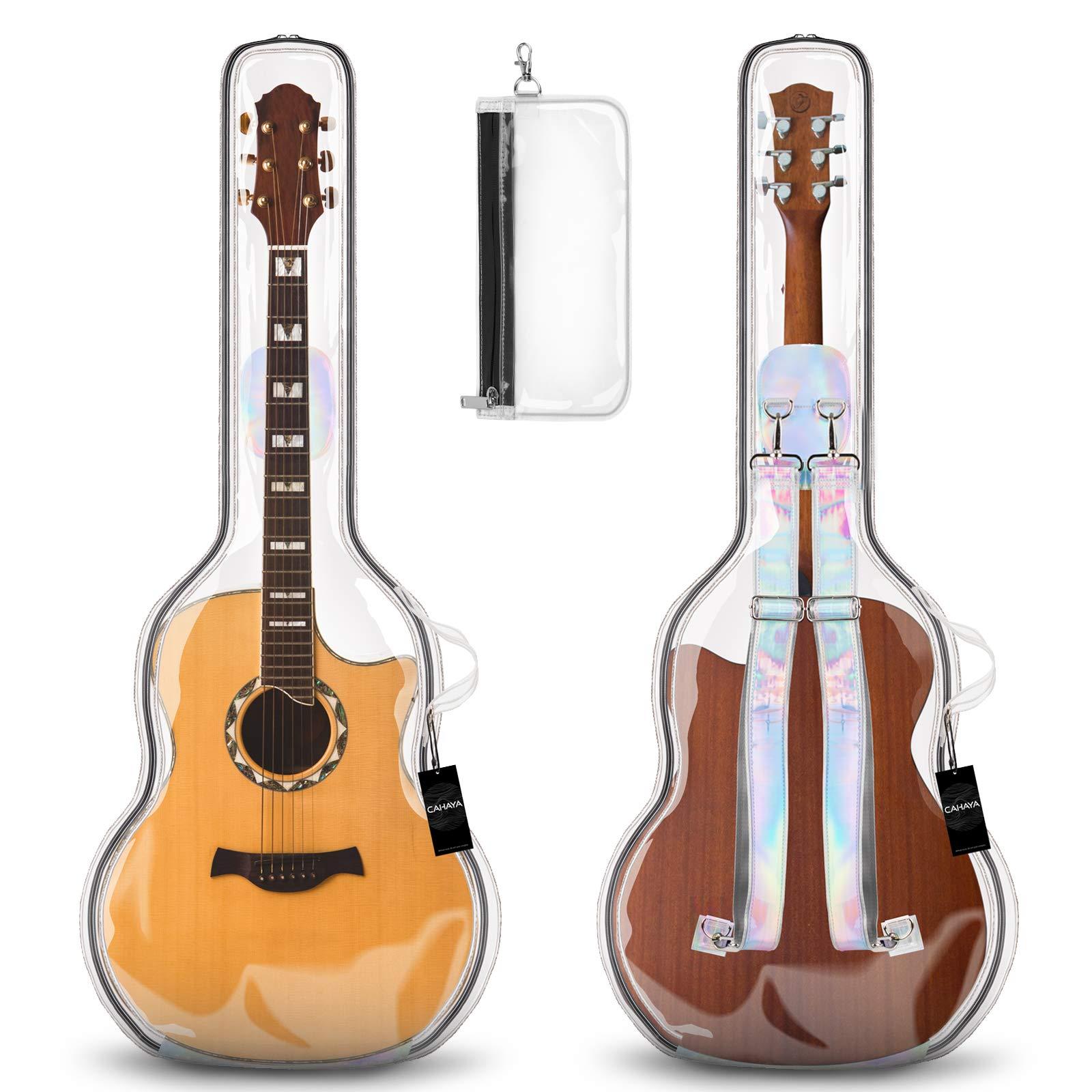 CAHAYA Guitar Bag Acoustic Backpack Soft Gig Bag Transparent 41inch Guitar Carrying Bag with Handbag for Accessories
