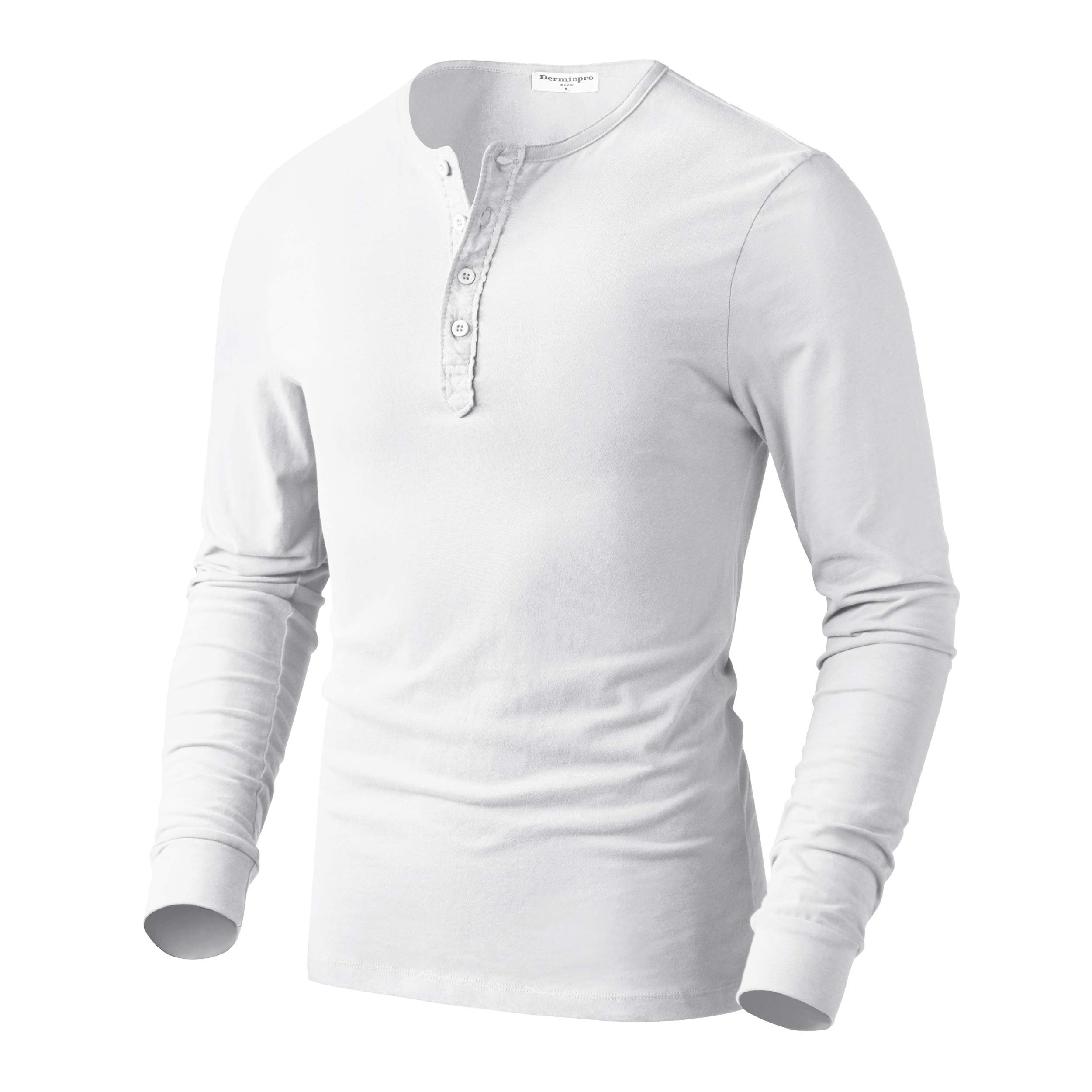 Derminpro Men's Premium Cotton Henley Long Sleeve T-Shirts White XX-Large