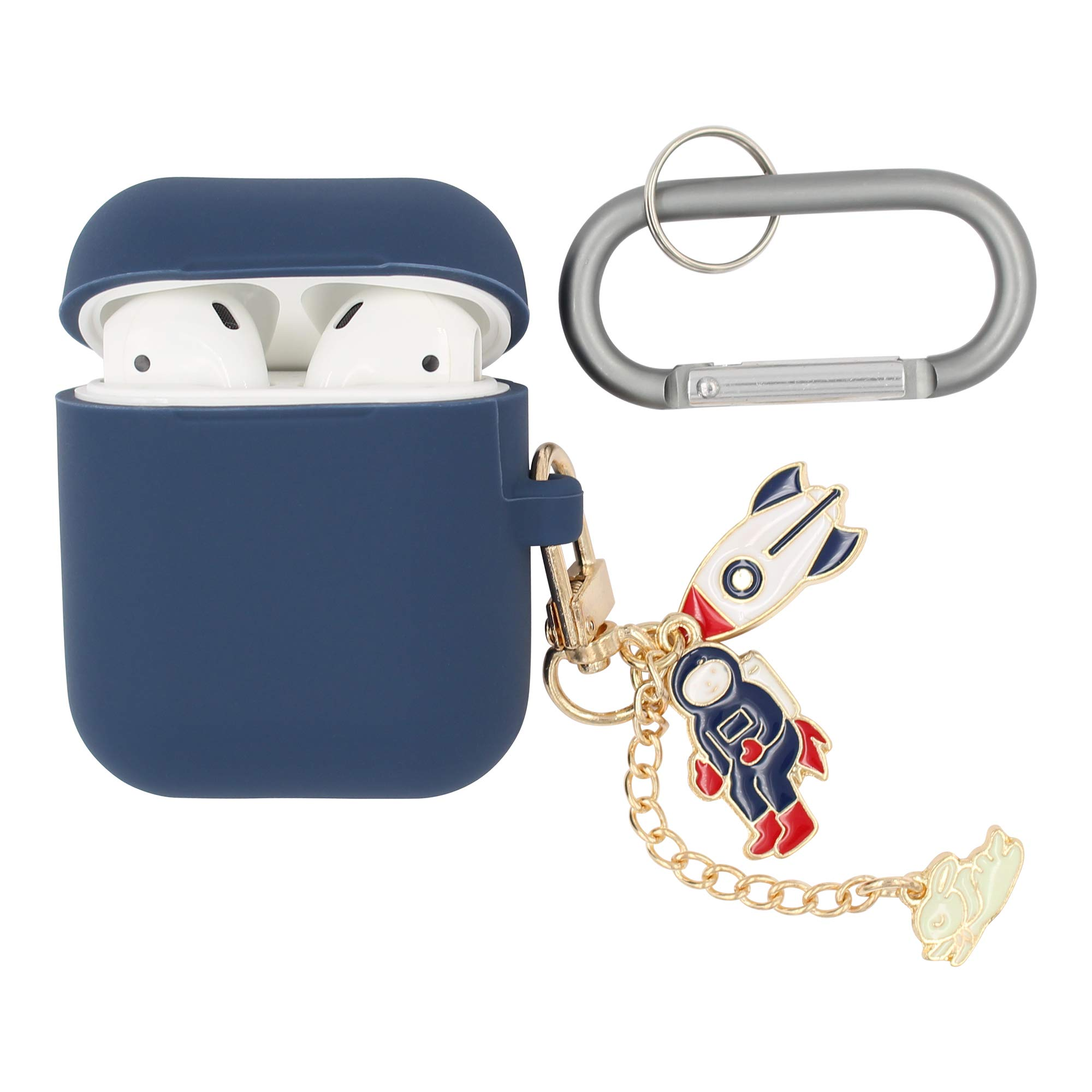 REAL SIC Premium Silicone AirPod Case Keychain with Carabiner - Compatible AirPods Keychain Protective Case - Colorful Key Fob Cover for Wireless Headphones (Navy Space Ship)