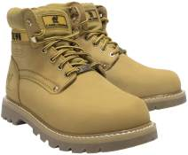 """CAMEL CROWN Men's 6"""" Plain Soft-Toe Work Boots Premium Oil Full Grain Leather Construction Boots"""
