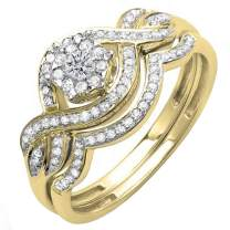 Dazzlingrock Collection 0.40 Carat (ctw) 14k Gold Round Diamond Ladies Bridal Ring Engagement Matching Band Set