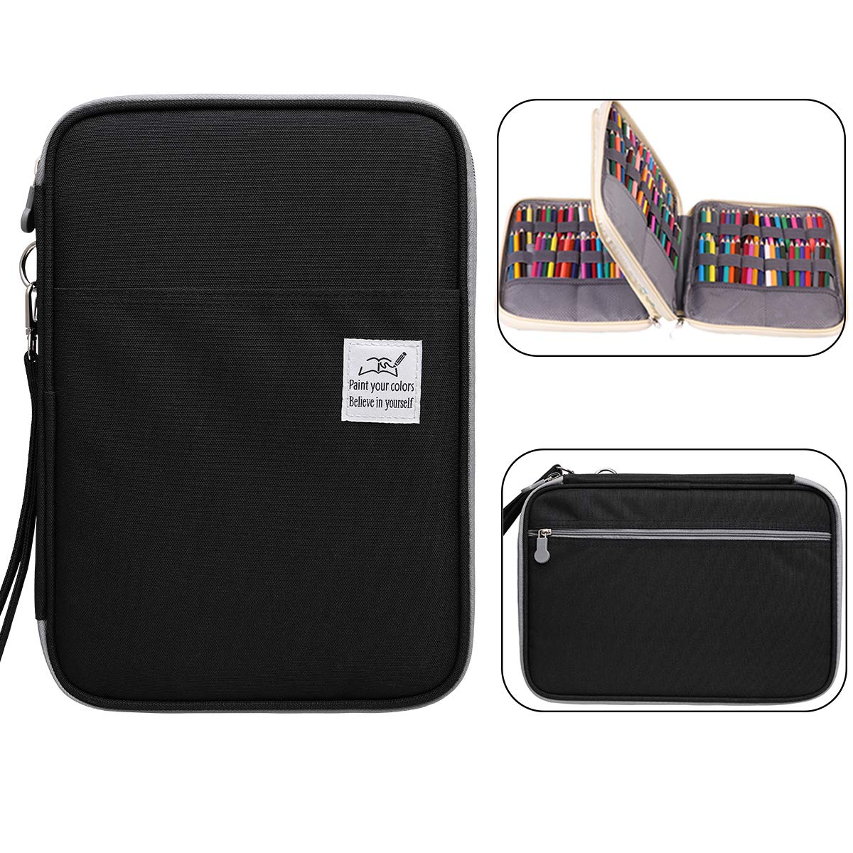 JAKAGO Max 192 Slots Colored Pencil Case Large Capacity Pen Organizer Bag for Watercolor Pencils, Markers, Gel Pens, Cosmetic Brush, Crochet Hooks, Great Gift for Student & Artist (Black)