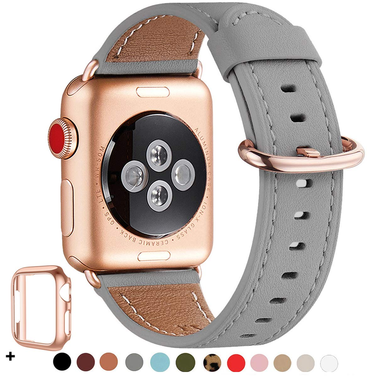 WFEAGL Compatible iWatch band 44mm 42mm,Top Grain Leather Band With Rose Gold Adapter(the Same as Series 5/4/3 With Gold Aluminum Case in Color)for iWatch Series 5 /4/3/2/1(Gray Band+RoseGold Adapter)