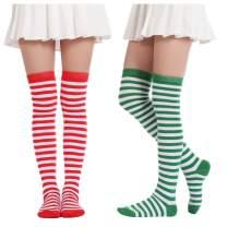 Over Knee Striped Socks Novelty Costume Opaque Long Thigh High Socks For Women Girls