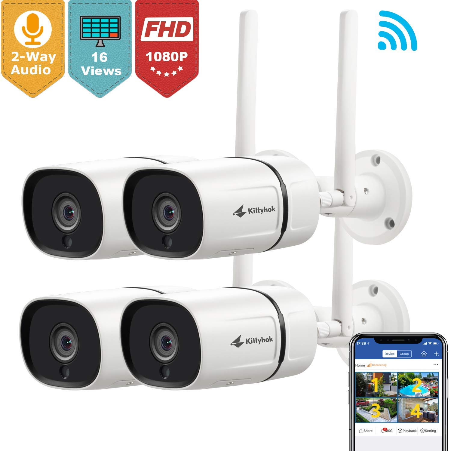 Kittyhok Outdoor Wireless Security Camera, 1080P Full HD 2.4GHz WiFi IP Bullet Cameras with Two-Way Audio/Motion Detection/Night Vision/ Ip65 Weatherproof Remote Surveillance Monitor (4-Pack)