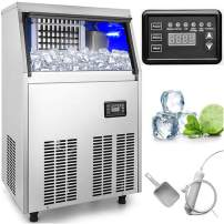 VEVOR 110V Commercial Ice Maker 110 LBS in 24 Hrs Stainless Steel with 33lbs Storage Capacity 40 Cubes Auto Clean for Bar Home Supermarkets, Includes Scoop and Connection Hose