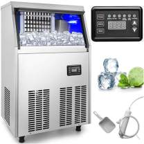 VEVOR 110V Commercial Ice Maker 88LBS/24H Stainless Steel with 29lbs Storage Capacity 32 Cubes Auto Clean Freestanding for Bar Home Supermarkets, Includes Scoop and Connection Hose