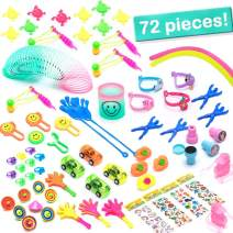 72 Pcs. Pinata Toys Filler, Prize Box Toys for Kids, Small Toys for Prizes and Party Favors Gifts for Birthday, Classroom and School Rewards, Complete w/ Unicorn Stickers, Emoji Rings, Finger Dinosaurs