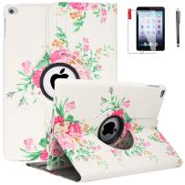 iPad 6th Generation Cases with Bonus Screen Protector and Stylus - iPad 9.7 inch Air1 2018 2017 Case Cover - 360 Degree Rotating Stand, Auto Sleep Wake - A1822 A1823 (Pink Flower)