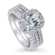 BERRICLE Rhodium Plated Sterling Silver Cushion Cut Cubic Zirconia CZ Halo Engagement Wedding Insert Ring Set 2.72 CTW