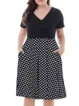 Nemidor Women's V-Neck Print Pattern Casual Work Stretchy Plus Size Swing Dress with Pocket NEM167 (Black Dot-Short, 26W)