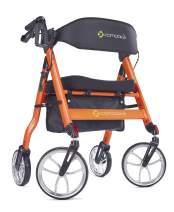 "Comodita Uno Heavy-Duty Aluminum Rollator Walker with Orthopedic 16"" Wide Seat (Metallic Orange)"