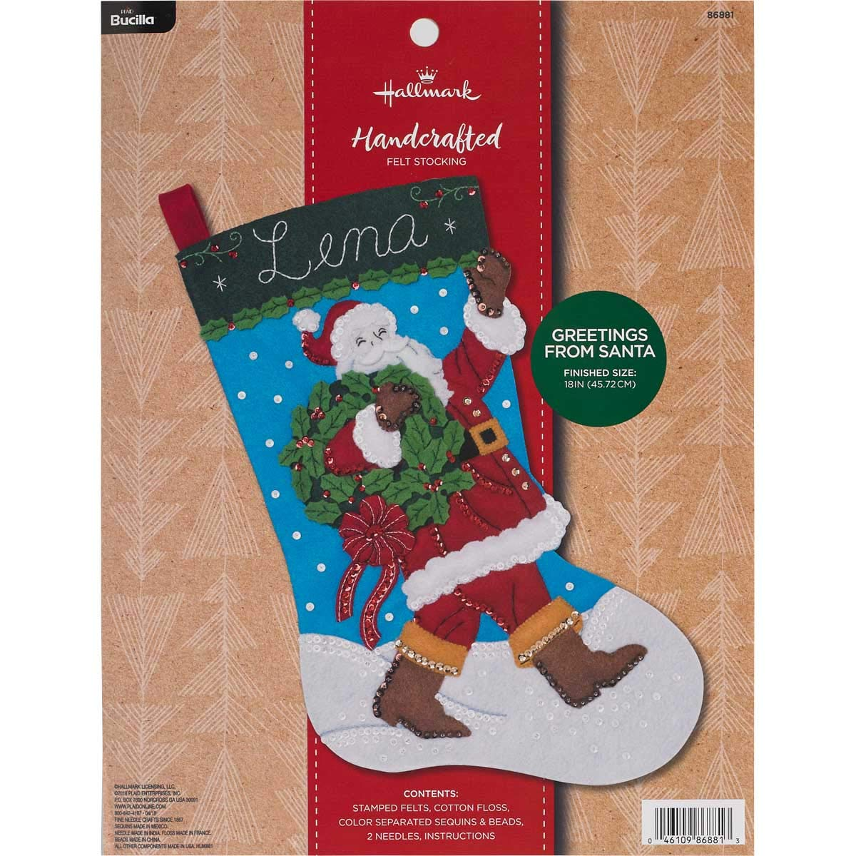 "Bucilla 86881 Hallmark Felt Stocking Kit, 18"", Greetings From Santa"