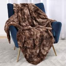 Bonzy Home Luxury Faux Fur Bed Blanket, Super Soft Fuzzy Cozy Warm Fluffy Plush Hypoallergenic Reversible Blankets for Bed Couch Chair Fall Winter Spring Living Room (60 x 80) - Brown Tie Dye