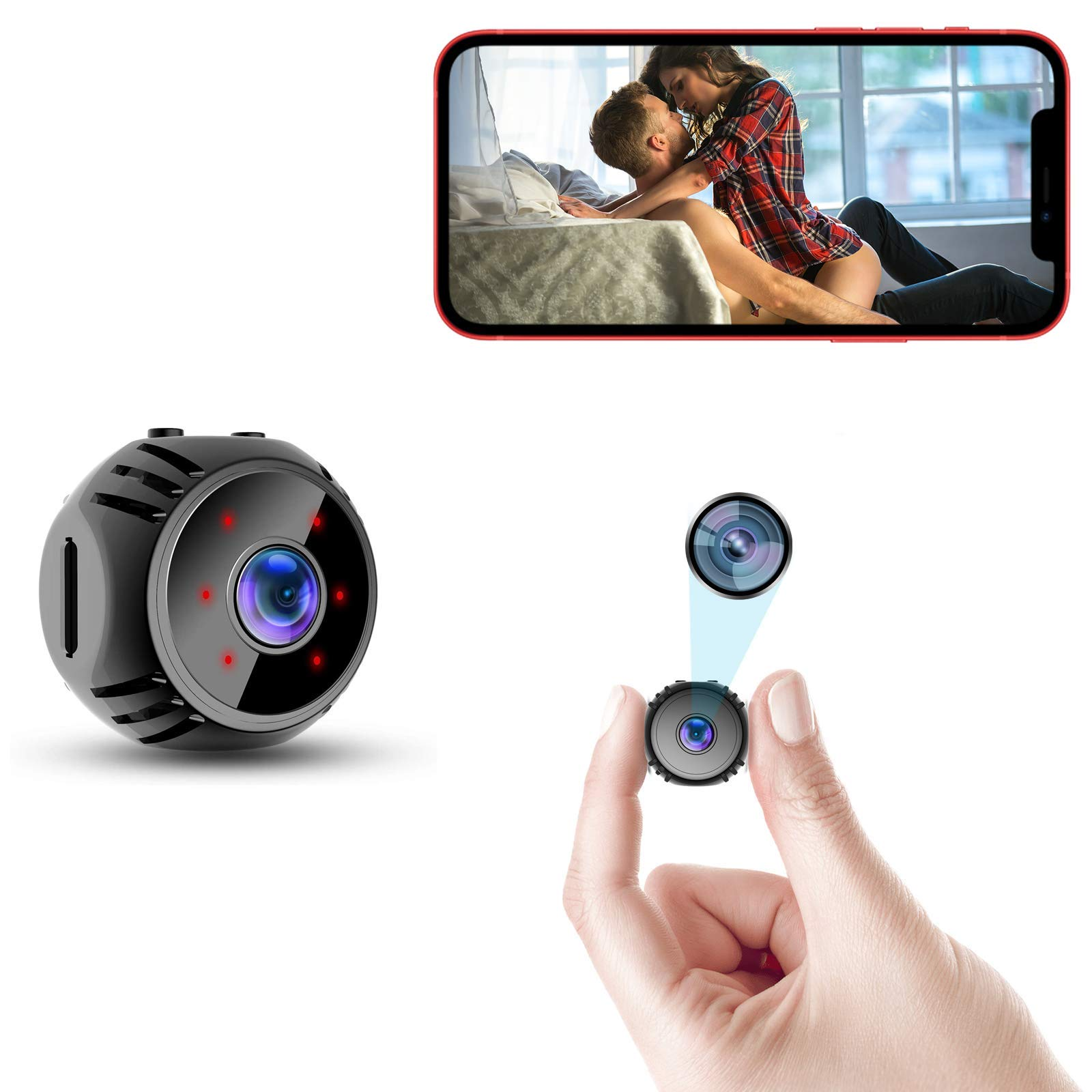 Mini Spy Camera WiFi 2021 Small Wireless Baby Monitor Home Security Surveillance Nanny Cam with Live Feed Phone APP Night Vision Motion Activated Real Time Indoor Video Recorder