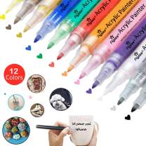Set of 12 Acrylic Paint Pens 0.7 mm for Rock Painting, Ceramic, Porcelain, Glass, Stones, Pebbles, Fabric, Wood & DIY Mug Design. Permanent Water Based Medium Tip Marker Pen (12pcs-0.7mm)