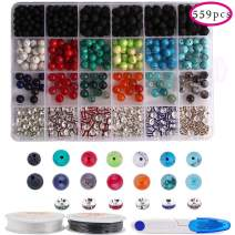 Dushi DIY Jewelry Kit 559pcs 8mm Bead Kit Round Loose Gemstone Natural Amethyst Lava Stone Black for Jewelry Making with 1 Scissor& 2 Crystal Strings (559 pcs)