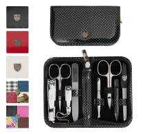 3 Swords Germany - brand quality 8 piece manicure pedicure grooming kit set for professional finger & toe nail care scissors clipper fashion leather case in gift box, Made in Solingen Germany (20203)